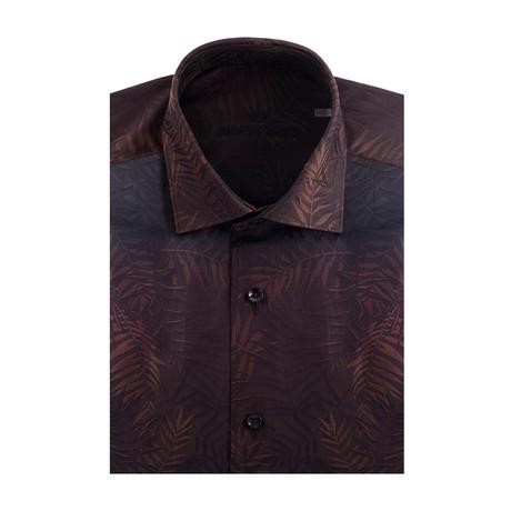 Gradient Palms Jacquard Short Sleeve Shirt // Brown + Black (XS)