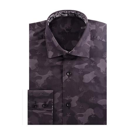 Camo Jacquard Long Sleeve Shirt // Black (S)
