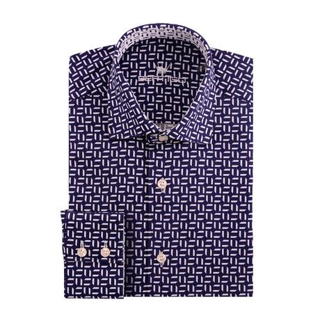 Small Lines Dobby Print Long Sleeve Shirt // Navy Blue (XS)
