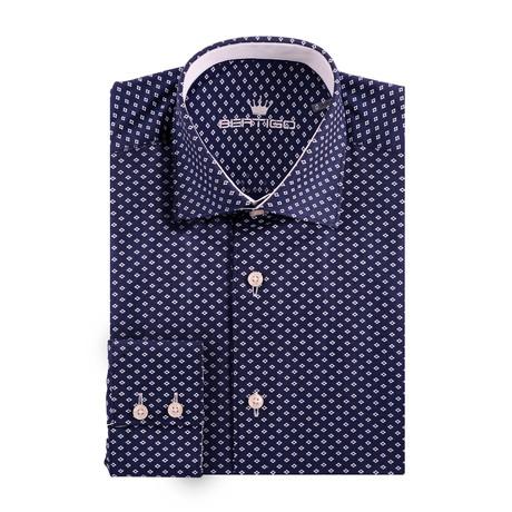 Diamond Print Oxford Long Sleeve Shirt // Navy Blue (XS)
