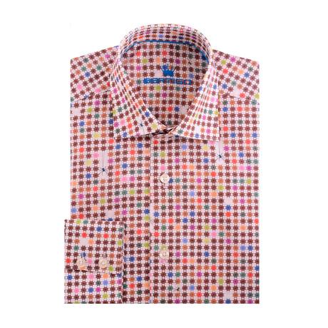 Spider Web Poplin Print Long Sleeve Shirt // Cream + Red (XS)