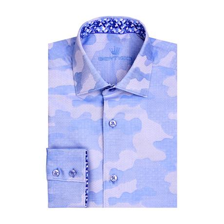 Camo Jacquard Long Sleeve Shirt // Blue (XS)