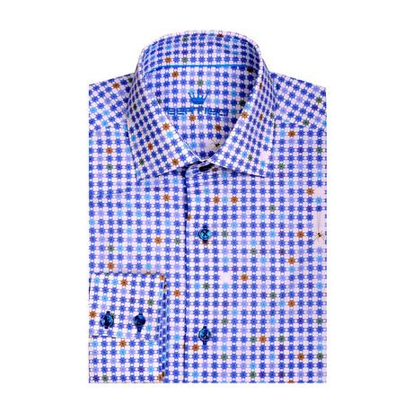 Spider Web Poplin Print Long Sleeve Shirt // Blue (XS)