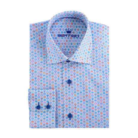 Abstract Scales Poplin Print Long Sleeve Shirt // Blue (XS)