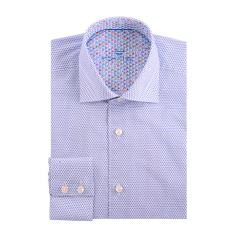 Bullseye Poplin Print Long Sleeve Shirt // White + Blue (XS)