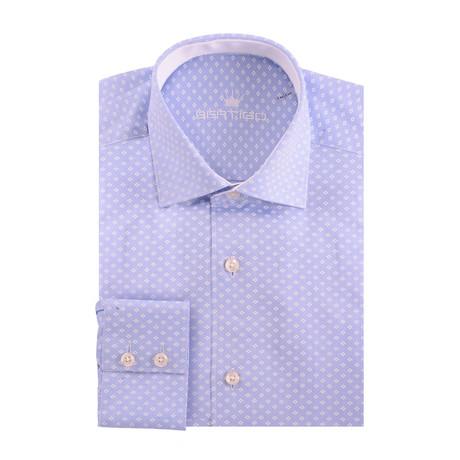 Diamond Print Oxford Long Sleeve Shirt // Blue (XS)