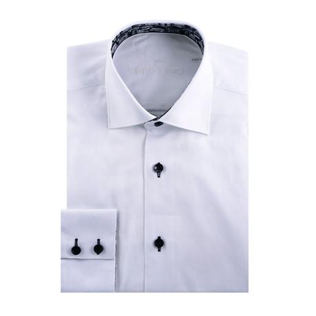 Camo Jacquard Long Sleeve Shirt // White (S)