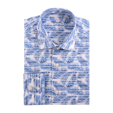 Palms Graphic Poplin Print Long Sleeve Shirt // White + Blue (XS)
