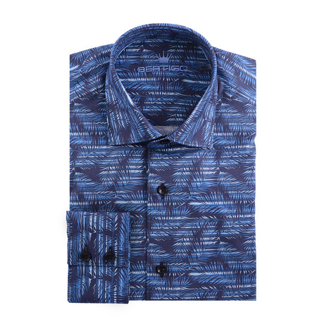 Palms Graphic Poplin Print Long Sleeve Shirt // Navy Blue (XS)