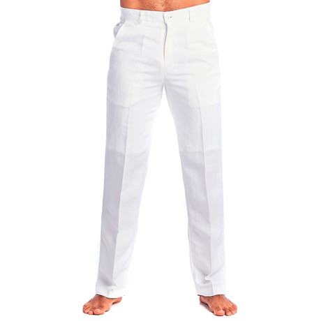 Flat Front Casual Dress Pants // White (30WX30L)