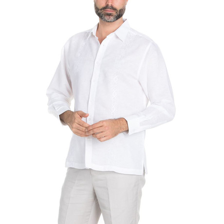 Casual Embroidered Long Sleeve Shirt // White (S)