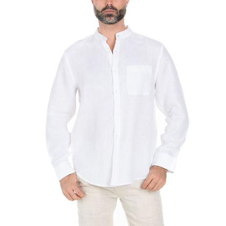 Mandarin Collar Long Sleeve Shirt // White (S)