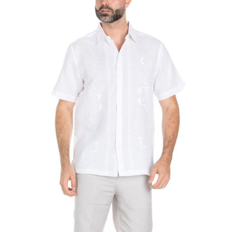 Resort Embroidered Short Sleeve Shirt // White (S)