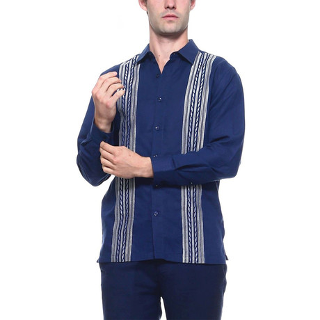 Resort Embroidered Long Sleeve Shirt // Navy (S)