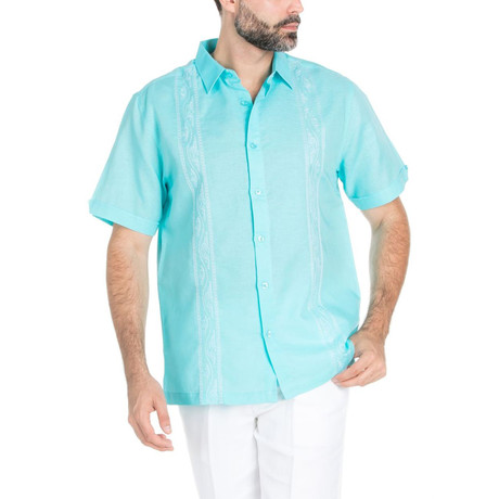 Resort Embroidered Short Sleeve Shirt // Aqua (S)