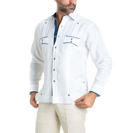 Trim Guayabera Long Sleeve Shirt + Polka Dot // White (S)