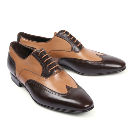 Two Tone Leather Dress Shoe // Beige + Brown (Euro: 39.5)