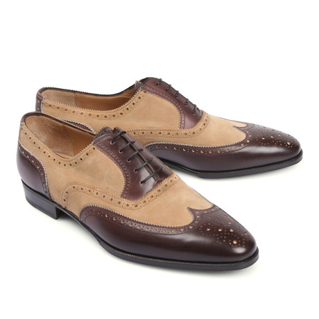 Two Tone Lace-Up Leather Dress Shoe // Beige + Brown (Euro: 39.5)