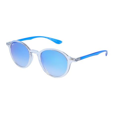 Unisex Round Sunglasses // Transparent Blue + Blue Gradient Flash