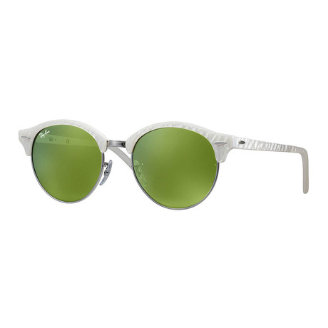 Club Round White Sunglasses // White + Green