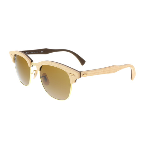 Unisex Clubmaster Wood Sunglasses // Wood + Gold