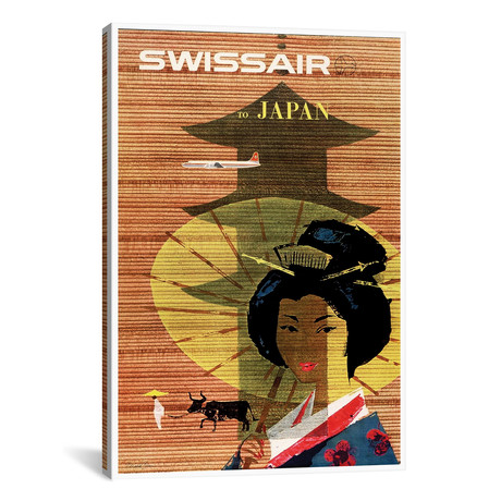 "Swissair To Japan // Unknown Artist (12""W x 18""H x 0.75""D)"