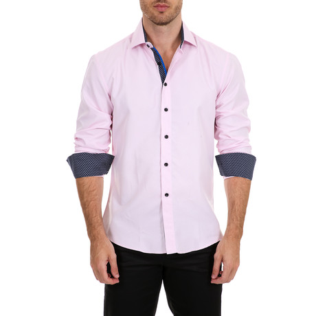 Mejia Long-Sleeve Button-Up Shirt // Pink (XS)