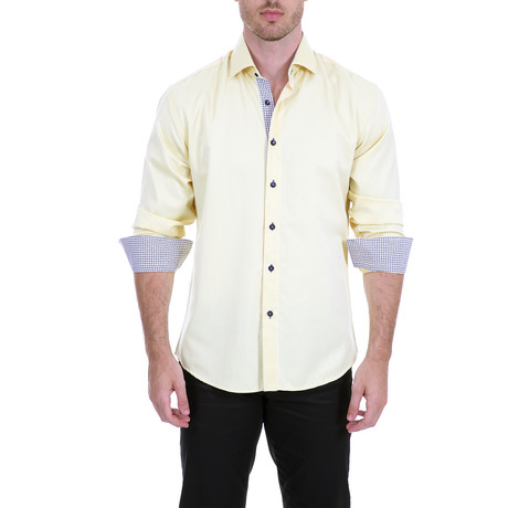 Lang Long-Sleeve Button-Up Shirt // Yellow (S)