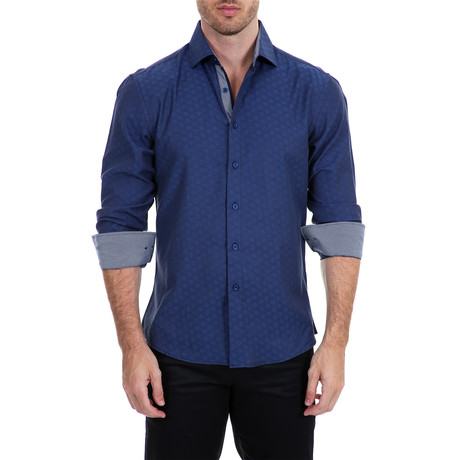 Duran Long-Sleeve Button-Up Shirt // Navy (S)