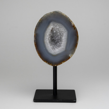 Natural Banded Agate Geode on Stand // 2lbs