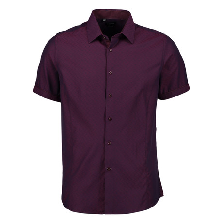 Aldrich Short Sleeve Button Up Shirt // Burgundy (S)
