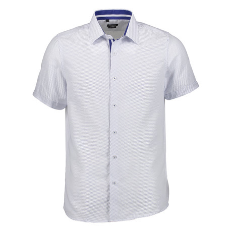Oswald Short Sleeve Button Up Shirt // White + Blue (S)