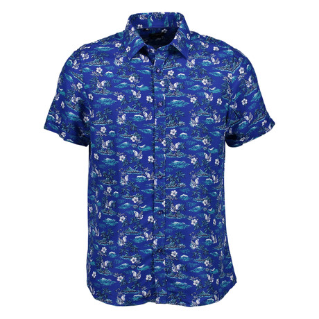 Osborne Short Sleeve Button Up Shirt // Blue (S)