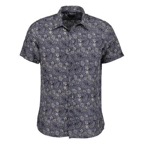 Lawrence Short Sleeve Button Up Shirt // Navy (S)