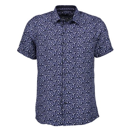 Teo Short Sleeve Button Up Shirt // Navy (S)