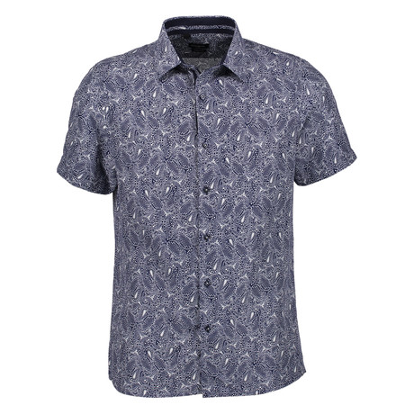 Arran Short Sleeve Button Up Shirt // Navy (S)