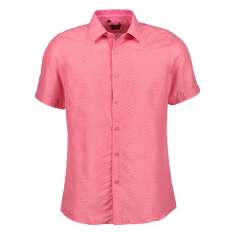 Oswald Short Sleeve Button Up Shirt // Hot Pink (S)