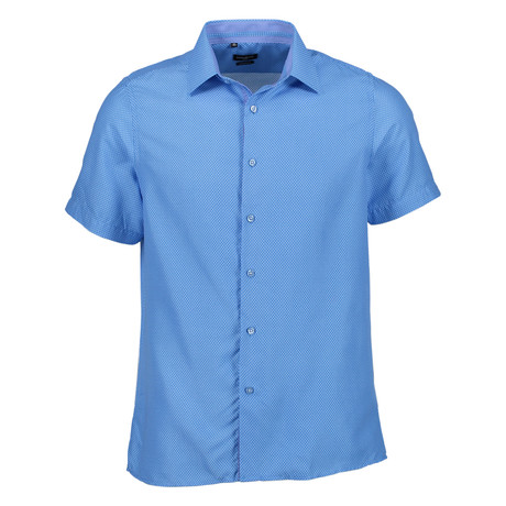 Oswald Short Sleeve Button Up Shirt // Blue (S)
