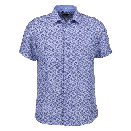 Teo Short Sleeve Button Up Shirt // Blue (S)