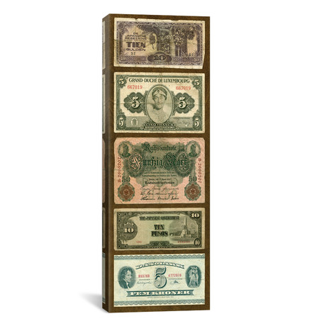 """Foreign Currency Panel I by Vision Studio (12""""W x 36""""H x 0.75""""D)"""