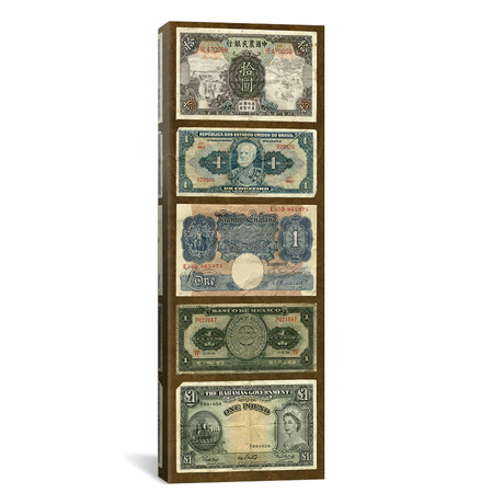 """Foreign Currency Panel II by Vision Studio (12""""W x 36""""H x 0.75""""D)"""