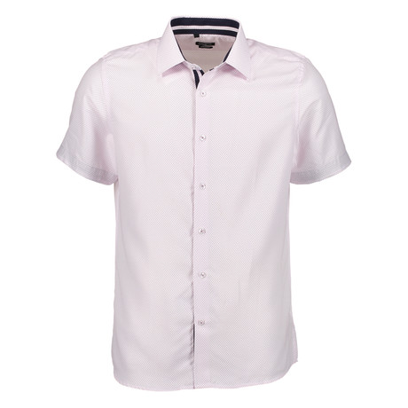 Oswald Short Sleeve Button Up Shirt // White + Pink (S)