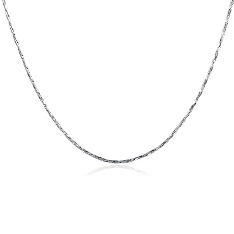 Sleek Italian Chain Necklace // 14K White Gold Plated