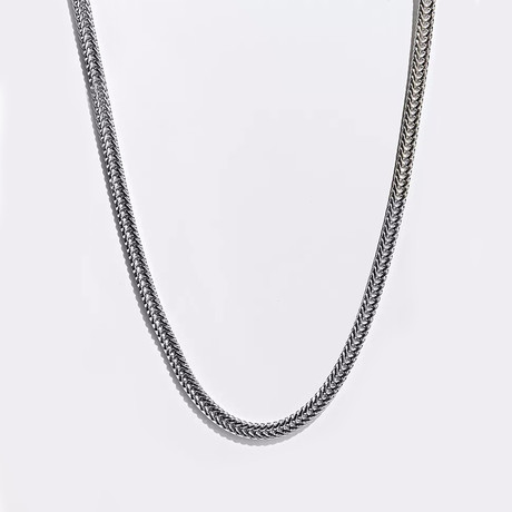 Plated Snake Design Chain Necklace // 14K White Gold