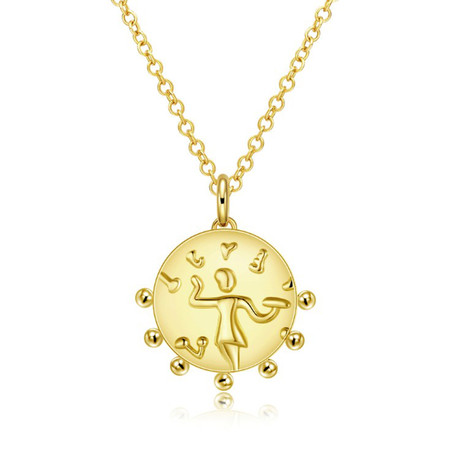 Aztec Circular Pendant Necklace // 14K Gold Plated