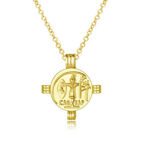 Ancient Roman Design Pendant Necklace // 14K Gold Plated