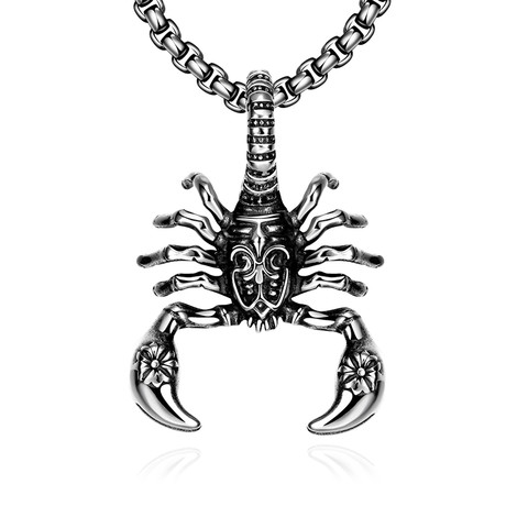 Scorpion Design Pendant Necklace // Stainless Steel