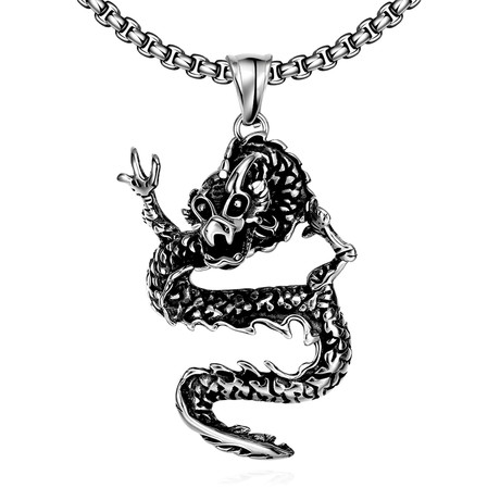 Oriental Dragon Curved Pendant Necklace // Stainless Steel
