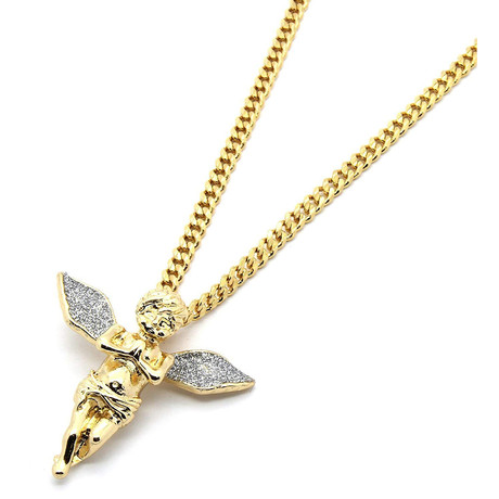 Angel Pavé Pendant Necklace // 14K Gold Plated