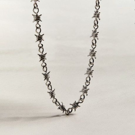 Barbed Wire Statement Necklace // 14K White Gold Plated